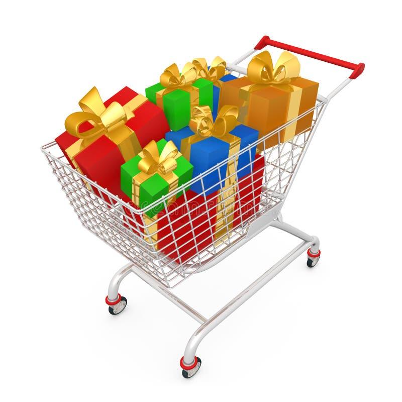 Carrello di acquisto con i presente illustrazione di stock