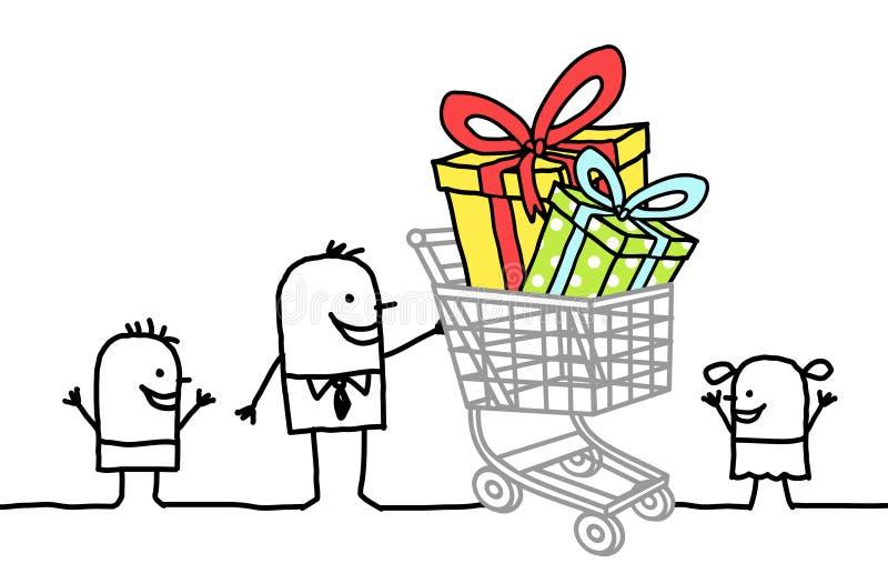 Carrello di acquisto con i regali royalty illustrazione gratis