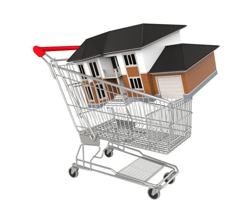 Carrello di acquisto con la casa royalty illustrazione gratis