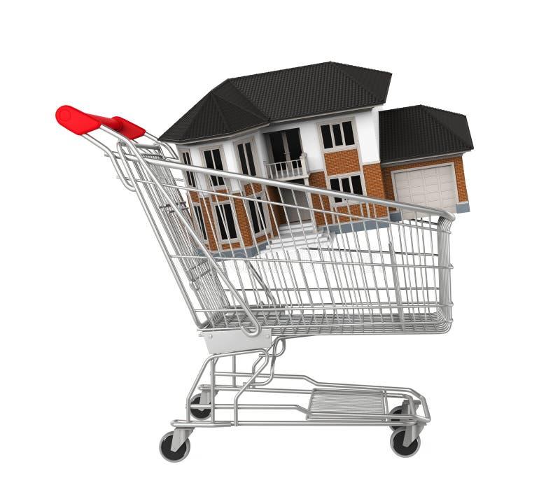 Carrello di acquisto con la casa illustrazione di stock