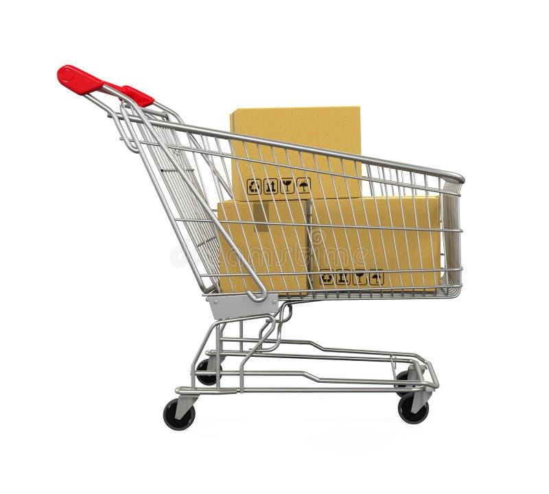 Carrello di acquisto con le caselle illustrazione di stock