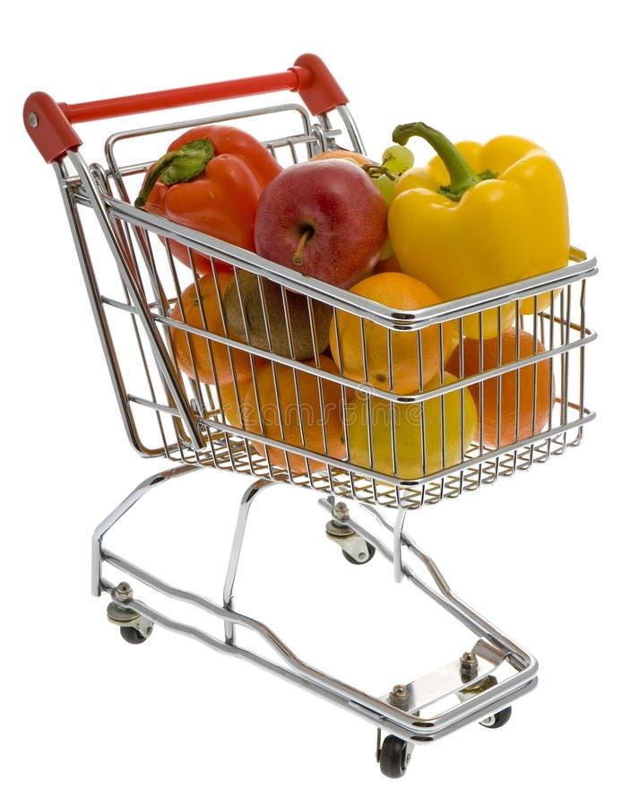 Carrello di acquisto con le frutta e le verdure immagine stock
