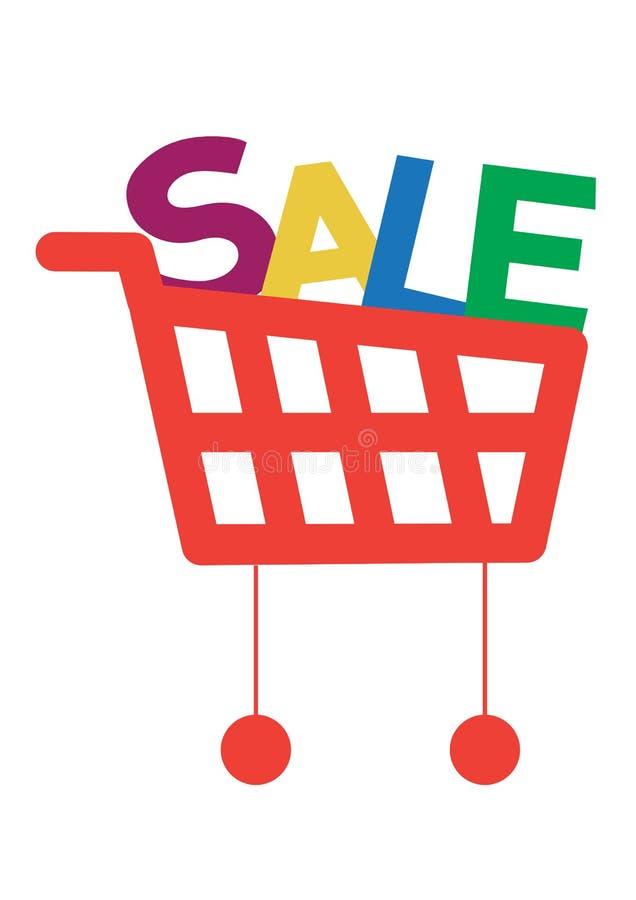 Carrello di acquisto con le lettere di vendita royalty illustrazione gratis
