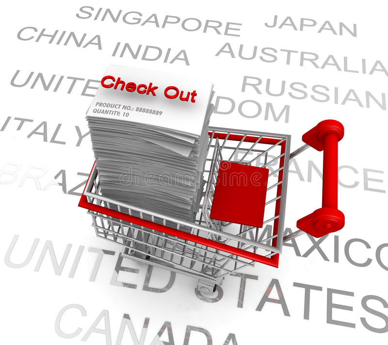 Carrello di acquisto di concetto di commercio elettronico da verificare