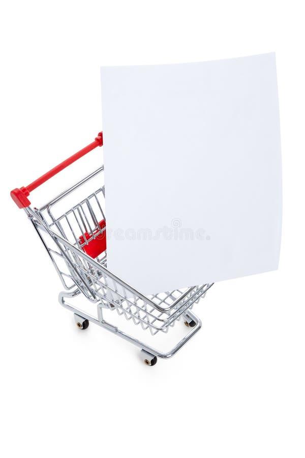Carrello di acquisto e del documento fotografia stock