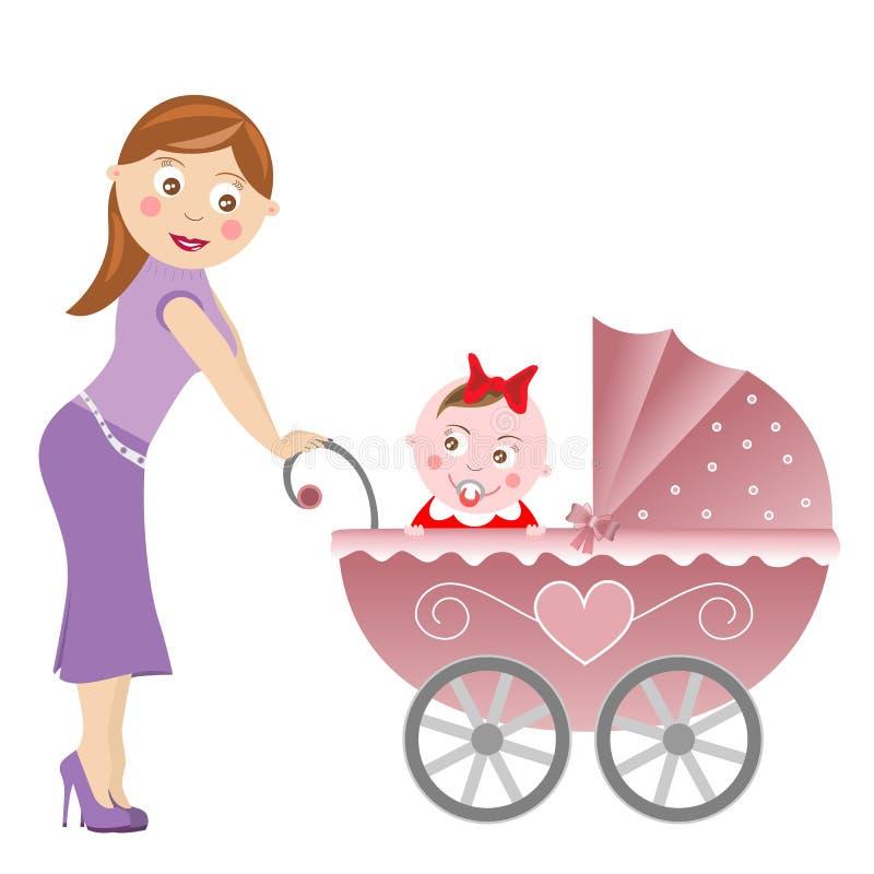 Carrello di bambino e della madre illustrazione di stock