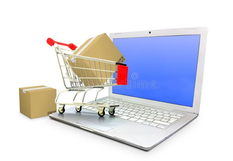 Carrello di commercio elettronico con le scatole del pacchetto sul computer portatile illustrazione di stock