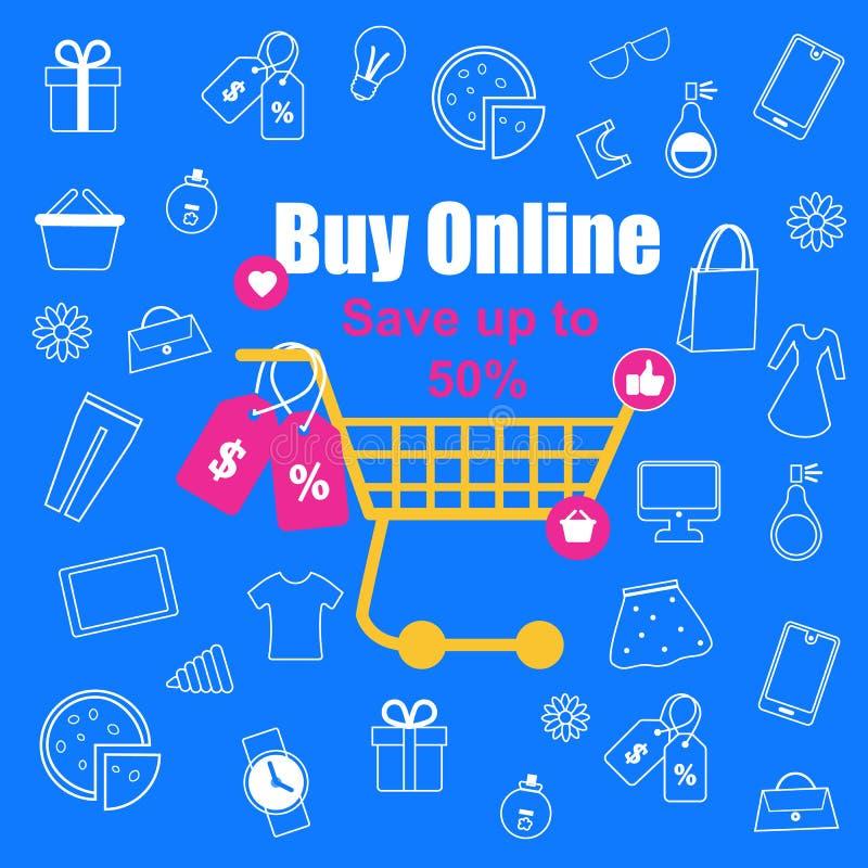 Carrello di compera con le etichette di vendita su fondo blu illustrazione vettoriale