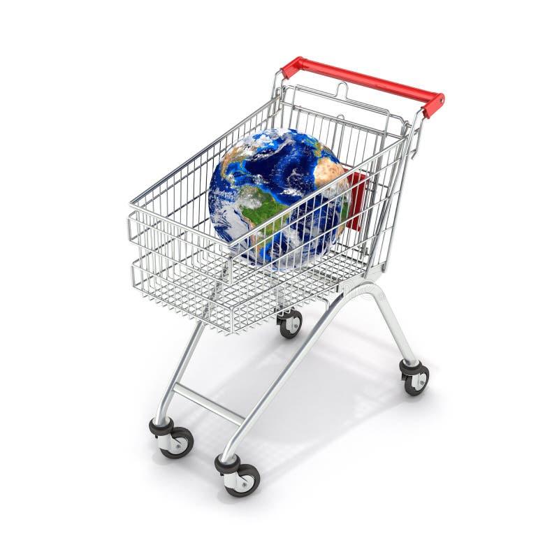 Carrello di compera del supermercato di concetto del globo del carrello con il globo su 3d bianco royalty illustrazione gratis