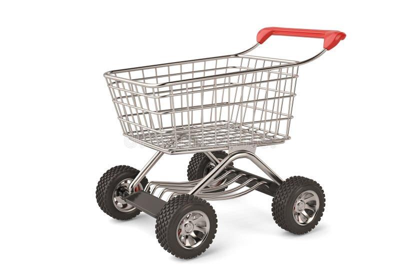 Carrello di concetto con l'grande alta risoluzione della ruota di automobile illu 3d illustrazione vettoriale