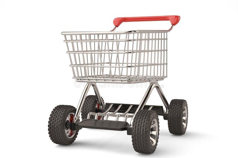Carrello di concetto con l'grande alta risoluzione della ruota di automobile illu 3d illustrazione di stock