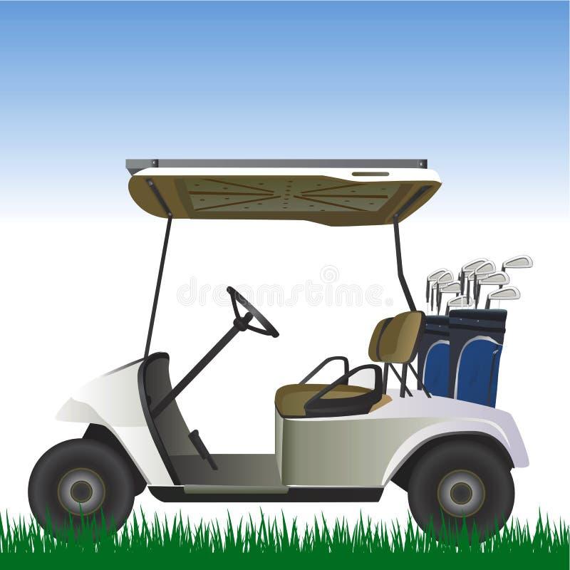 Carrello di golf nel vettore del campo illustrazione vettoriale