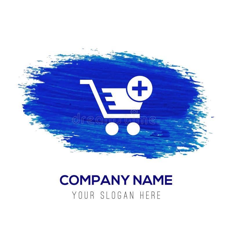 Carrello e più - fondo blu dell'acquerello illustrazione di stock