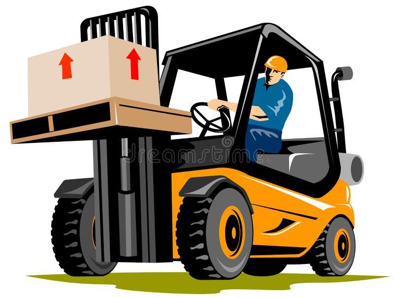Carrello elevatore con il driver illustrazione vettoriale