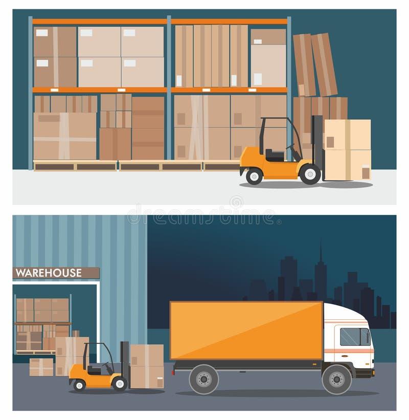Carrello elevatore a forca nell'edificio deposito Carico del camion Notte Due banner vettoriali illustrazione vettoriale