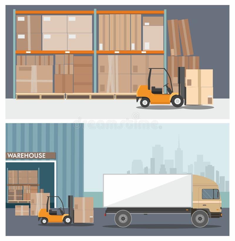 Carrello elevatore a forcale in magazzino Caricamento del camion nella costruzione del magazzino Insegne di Web royalty illustrazione gratis