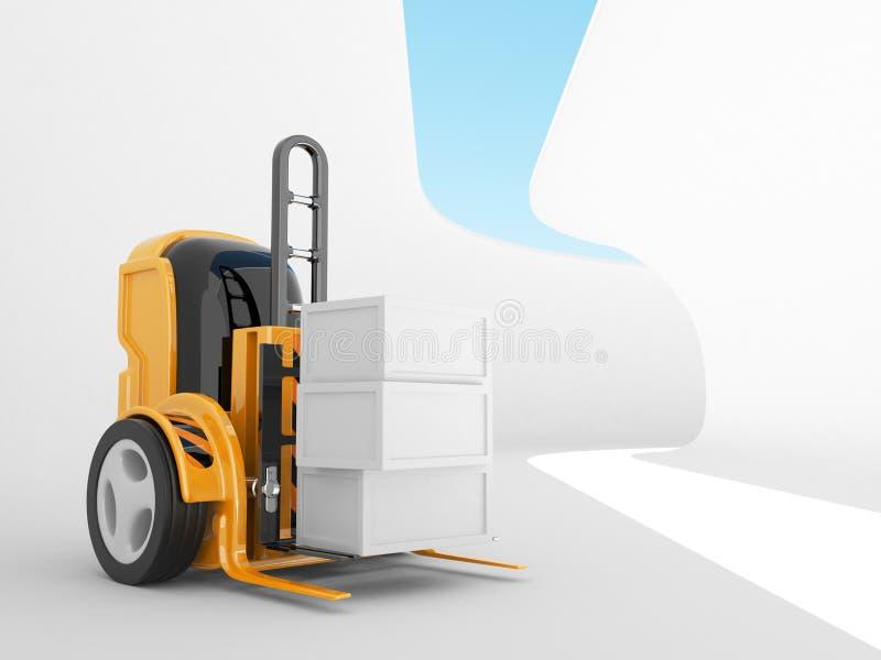 Carrello elevatore industriale con il caricamento. robot 3d royalty illustrazione gratis