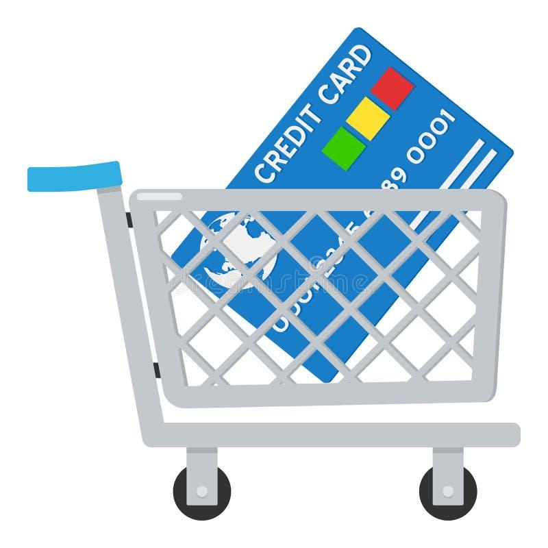 Carrello & icona della carta di credito su bianco illustrazione di stock