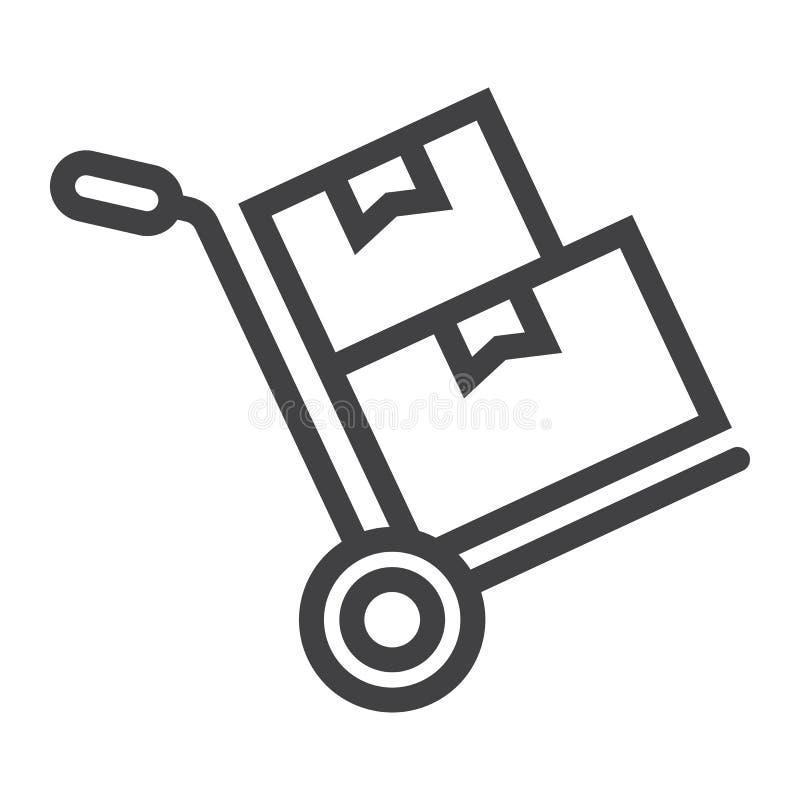 Carrello a mano con la linea icona delle scatole di cartone illustrazione di stock