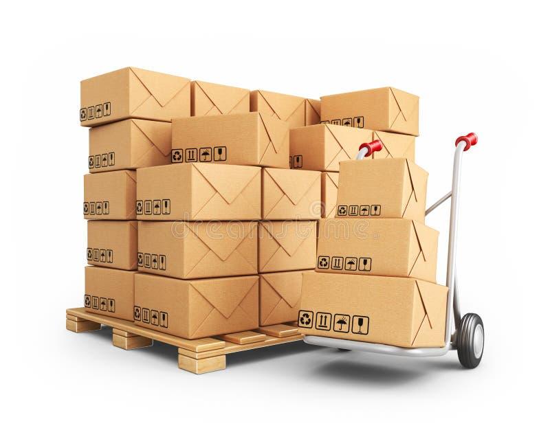 Carrello a mano con le scatole di cartone. icona 3D isolata illustrazione di stock