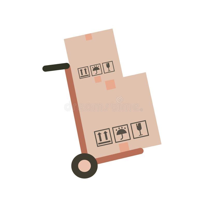 Carrello a mano e scatole di cartone con gli acquisti illustrazione vettoriale