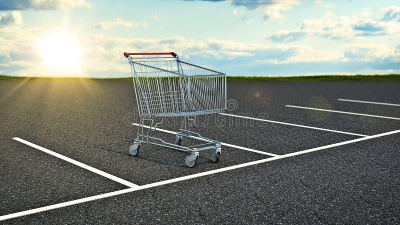 Carrello nel parcheggio illustrazione di stock