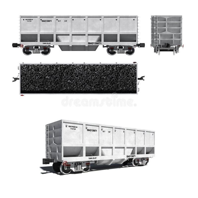 Carrello per il trasporto di carbone isolato su bianco illustrazione di stock