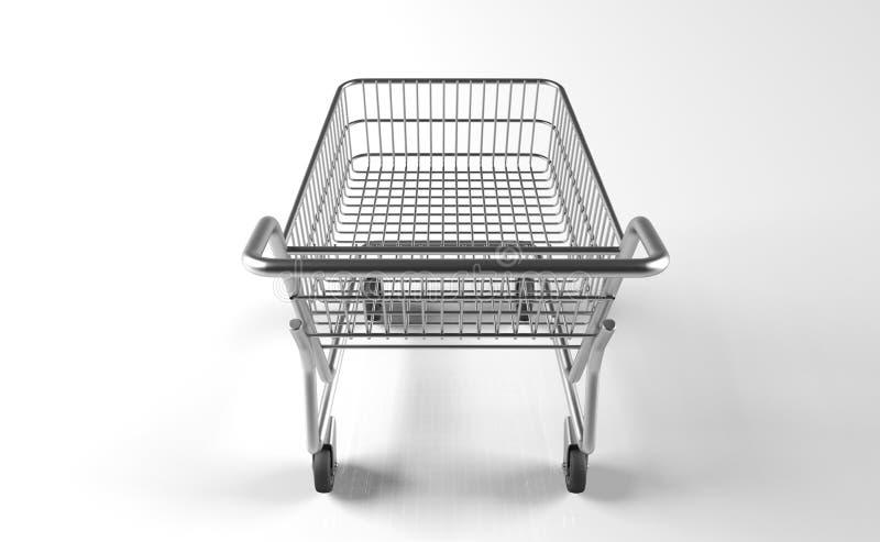 Carrello realistico del metallo del supermercato illustrazione di stock