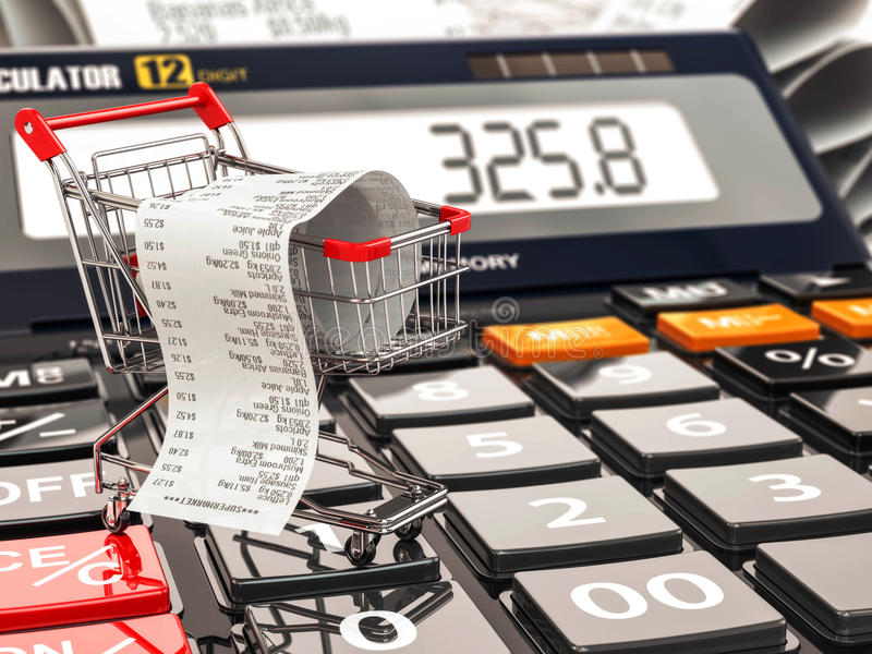 Carrello sul calcolatore e sulla ricevuta Bilancio o consumatore domestico illustrazione di stock