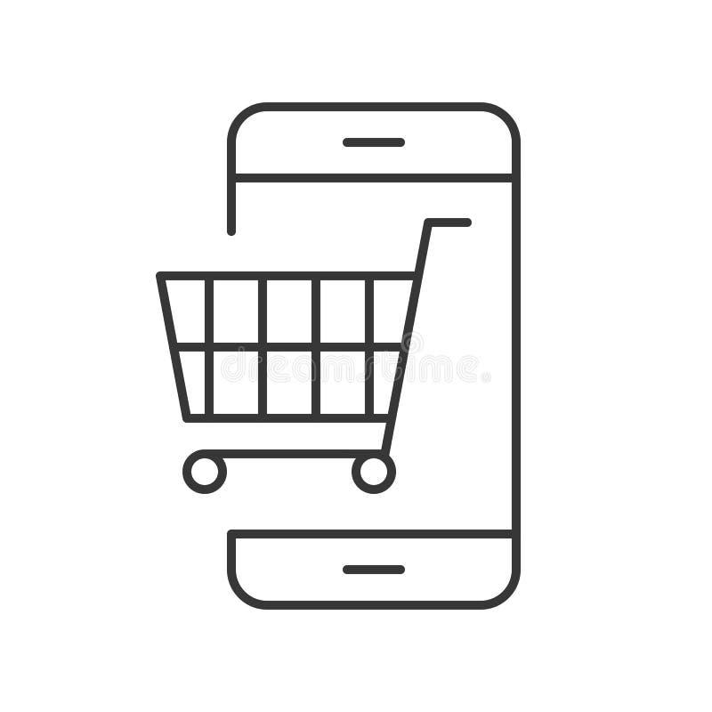 Carrello sullo schermo del cellulare, linea icona che compera online e COM di e royalty illustrazione gratis