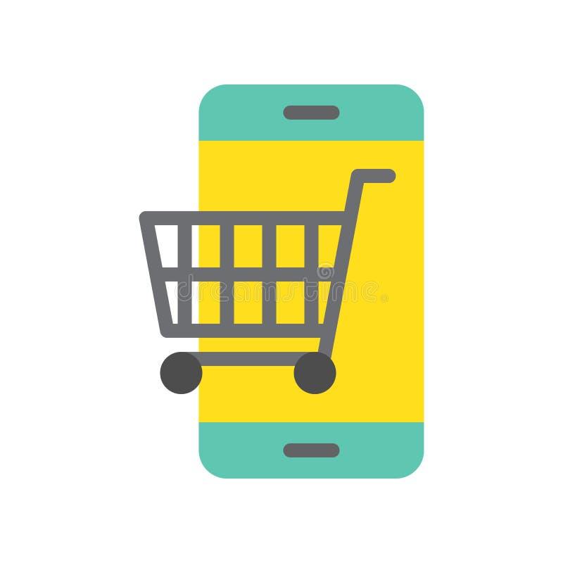 Carrello sullo schermo del cellulare, sull'icona piana che comperano online e su COM di e royalty illustrazione gratis