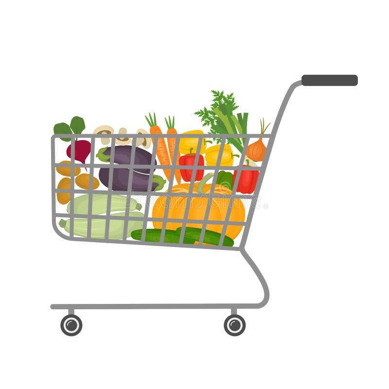 Carrello in un supermercato in pieno delle verdure illustrazione di stock