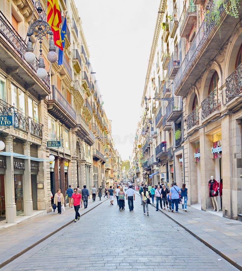 Carrer de Ferran, cuarto gótico, Barcelona fotos de archivo libres de regalías
