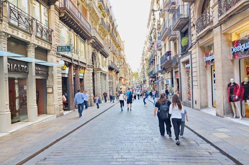 Carrer de Ferran, cuarto gótico, Barcelona imagen de archivo