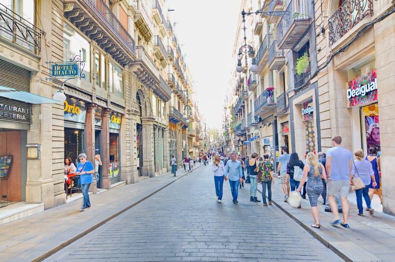Carrer de Ferran, cuarto gótico, Barcelona imágenes de archivo libres de regalías