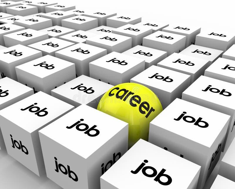Carrera contra el desarrollo del crecimiento de Job Sphere Cubes Work Opportunity libre illustration