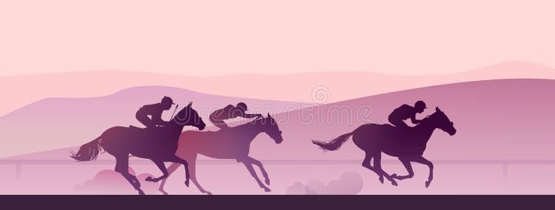 Carrera de caballos en la madrugada en montañas ilustración del vector
