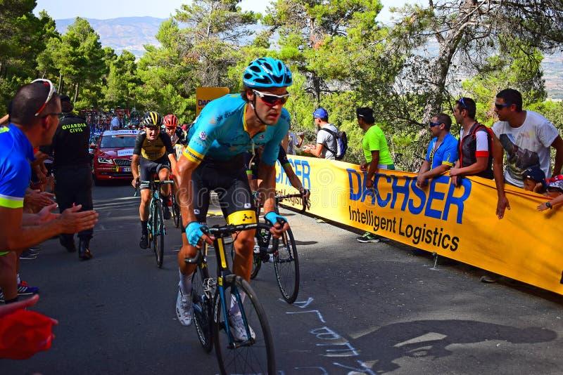 Carrera del ciclo de Vuelta España del La de Peleton de la carrera de la bici fotos de archivo libres de regalías