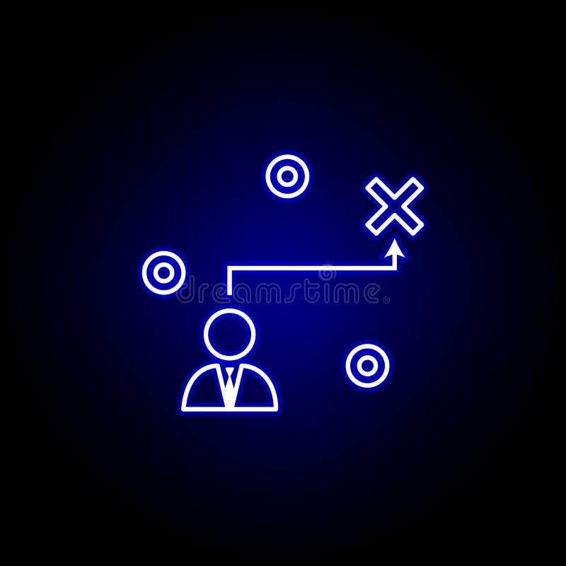 Carrera, trayectoria, estrategia, icono del hombre de negocios Elementos del ejemplo de los recursos humanos en el icono de ne?n  libre illustration