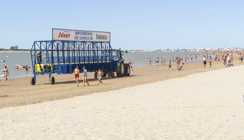 Carreras de caballos de la playa de Sanlucar fotos de archivo