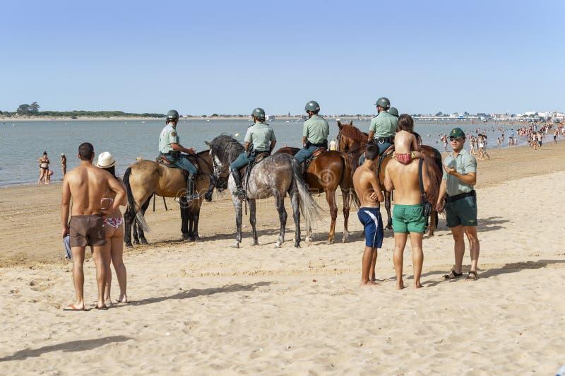 Carreras de caballos de la playa de Sanlucar imagen de archivo