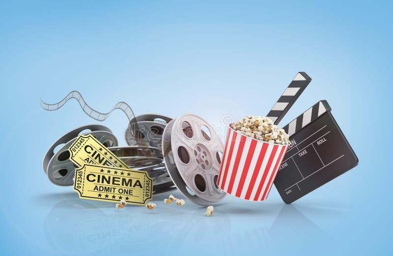 Carretéis de filme, bilhetes e placa de válvula ilustração royalty free