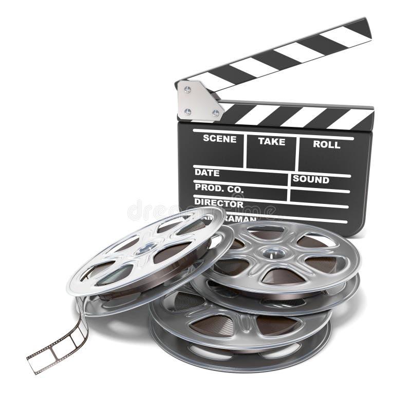 Carretéis de filme e placa de válvula do filme Ícone video 3d rendem ilustração do vetor