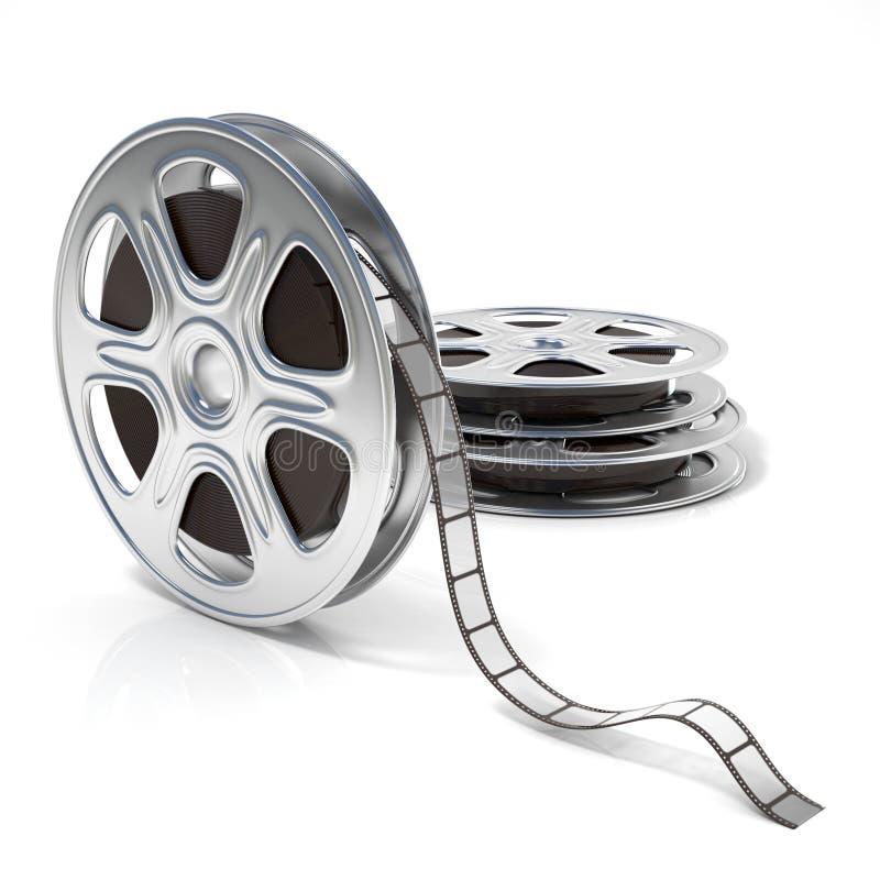 Carretéis de película Ícone video 3d rendem ilustração royalty free