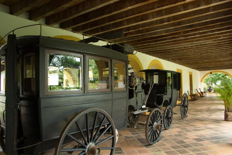 Carretas in the ex-hacienda El Lencero in Jalapa Veracruz Mexico from the time of the Mexican Revolution. Wooden carriages from the time of the Mexican stock photography