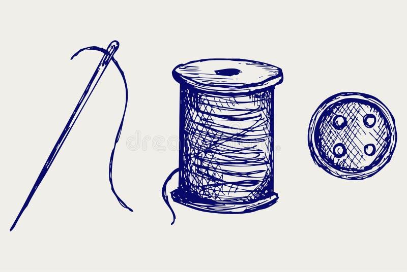 Carrete con las cuerdas de rosca y el botón de costura stock de ilustración
