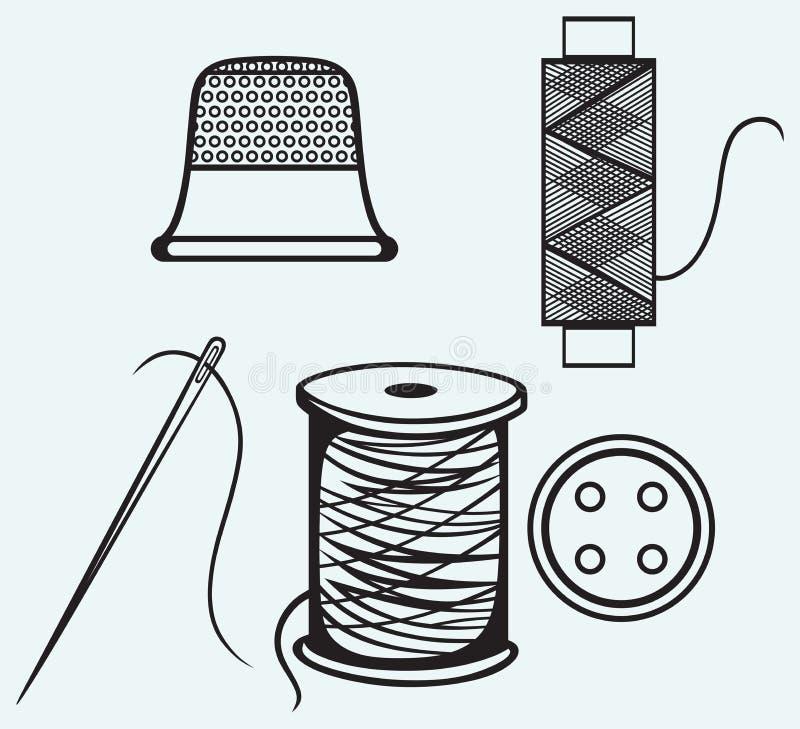 Carrete con los hilos, el botón de costura y el dedal stock de ilustración