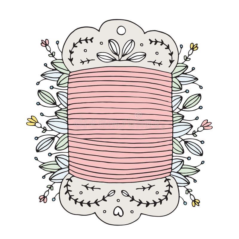 Carrete de costura dibujado mano del hilo del vector floral foto de archivo