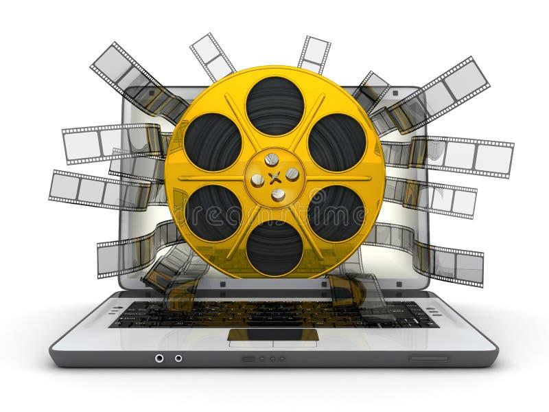 Carrete de la computadora portátil y del oro stock de ilustración