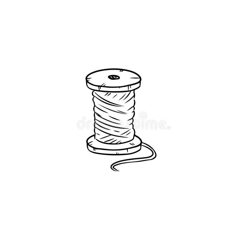Carrete de madera del bosquejo del garabato del hilo del algodón stock de ilustración